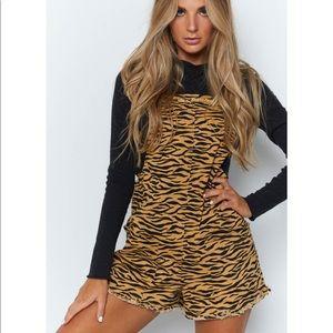Tiger Striped Overall Romper